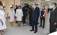 President Kassym-Jomart Tokayev visits the modular infectious diseases hospital in Nur-Sultan
